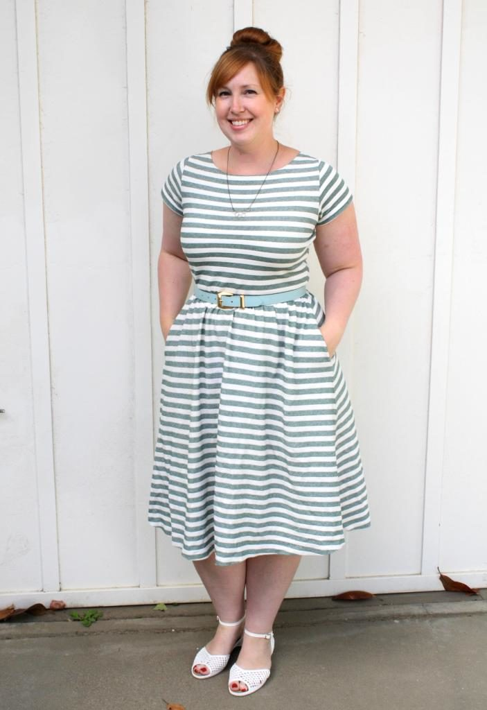 Striped Moneta Dress Mint Green Sewing Machine