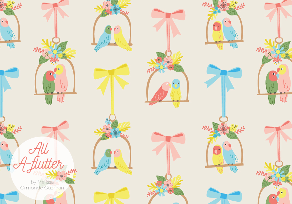 Melissa Ormonde Guzman Surface Pattern Design All Aflutter Lovebirds Fabric
