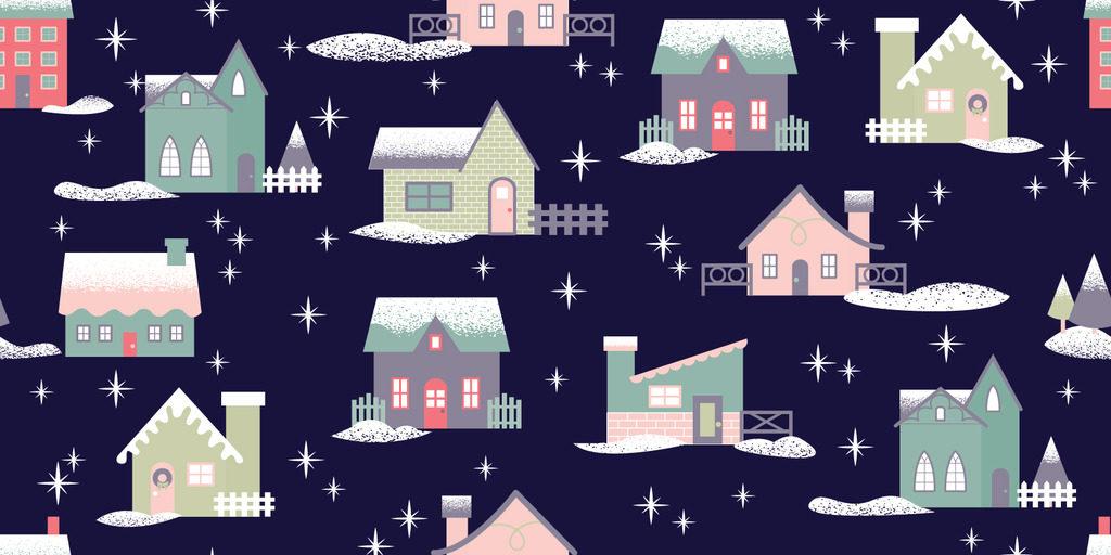 Melissa Ormonde Guzman Surface Pattern Design Let it Snow Retro Christmas