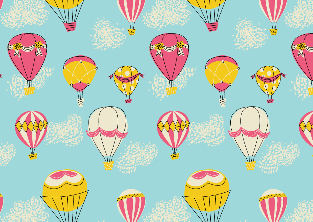 Melissa Ormonde Guzman Surface Pattern Design Up and Away Retro Hot Air Balloons