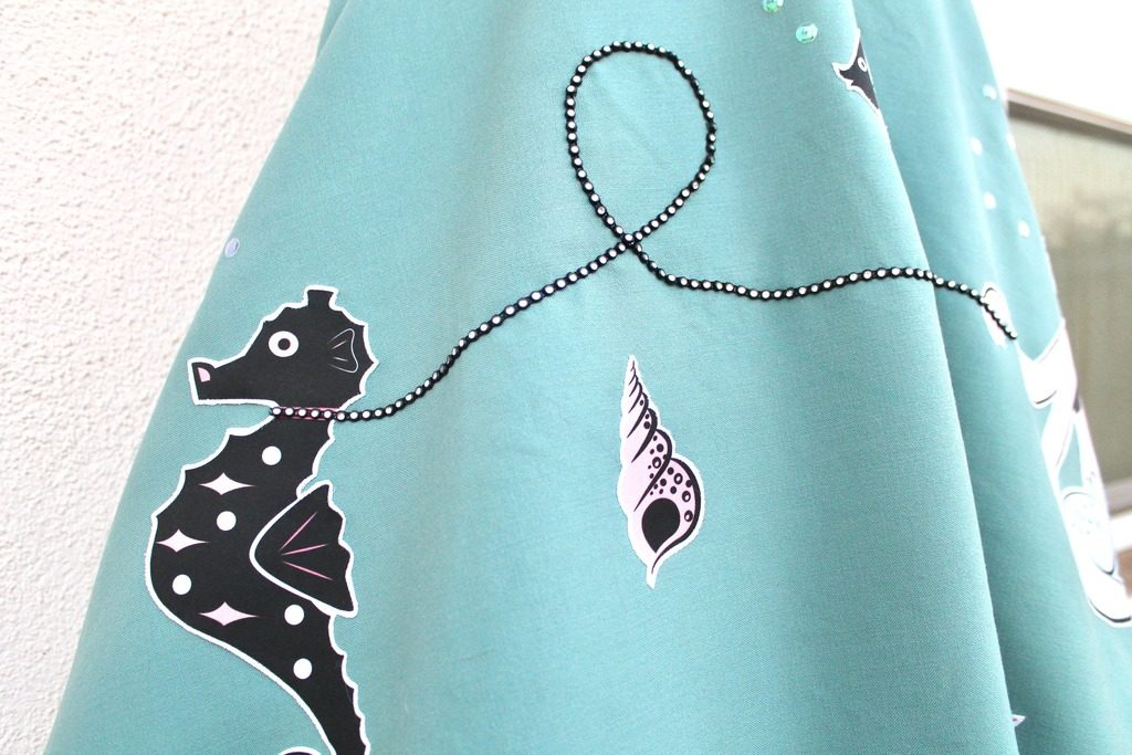 Retro Mermaid Applique Skirt Mint Green Sewing Machine Blog