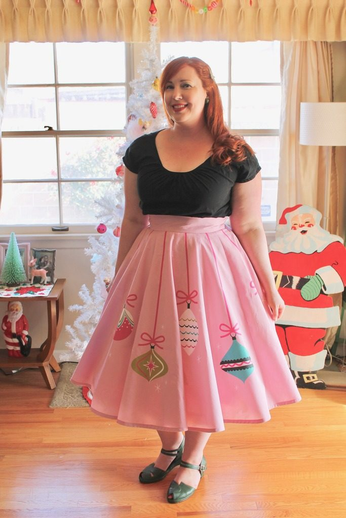 Retro Christmas Ornaments Circle Skirt Mint Green Sewing Machine